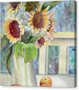 Sunflowers And Peaches Canvas Print