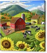 Sunflowers Cows Appalachian Farm Landscape - Rural Americana - Farm Animals - 1950 Farm Life - Barn Canvas Print