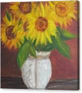 Sunflowers In A Clay Pot Canvas Print