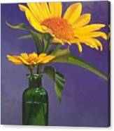 Sunflowers In A Green Bottle Canvas Print