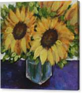 Sunflowers In A Square Vase Canvas Print