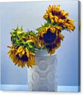 Sunflowers In Circle Vase Blue Tournesols Canvas Print
