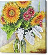 Sunflowers In Glass Vase Canvas Print