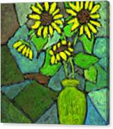 Sunflowers In Vase Green Canvas Print
