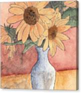 Sunflowers In Vase Sketch Canvas Print