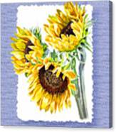 Sunflowers On Baby Blue Canvas Print
