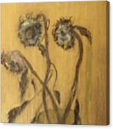 Sunflowers On Gold Canvas Print