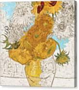 Sunflowers Van Gogh Digital Art Canvas Print