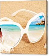 Sunglasses In The Sand Canvas Print