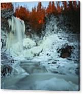 Sunlit Edge Of The Moraine Falls Canvas Print
