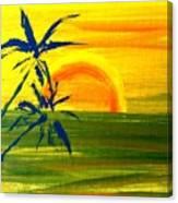 Sunny Blue Palms Canvas Print