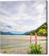 Sunny Day At Kinloch Wharf In New Zealand Canvas Print