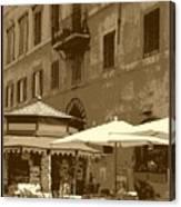 Sunny Italian Cafe - Sepia Canvas Print