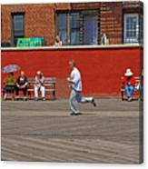 Sunny Morning On A Boardwalk In Brighton Beach  Canvas Print