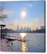 Sunny Schuylkill River In Winter Canvas Print