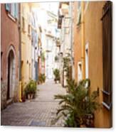 Sunny Street In Villefranche-sur-mer Canvas Print