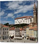 Sunny Tartini Square In Piran Slovenia With Government Building, Canvas Print