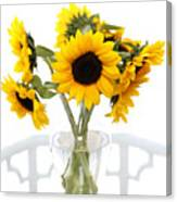 Sunny Vase Of Sunflowers Canvas Print