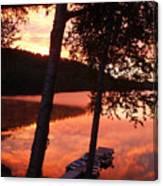 Sunrise And Birch Trees Canvas Print