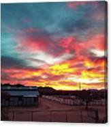 Sunrise And Horse Barn Canvas Print