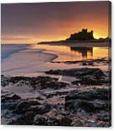 Sunrise At Bamburgh Castle #4, Northumberland, North East England Canvas Print