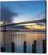 Sunrise At Bay Bridge Canvas Print