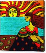 Sunrise At Beach Madhubani Painting Canvas Print