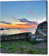 Sunrise At Castle Rock Marblehead Ma Rocky Coast Canvas Print