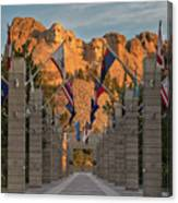 Sunrise At Mount Rushmore Promenade Canvas Print
