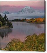Sunrise At Oxbow Bend Canvas Print