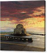 Sunrise At Vista House On Crown Point Canvas Print