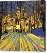 Sunrise Forest Modern Impressionist Landscape Painting  Canvas Print