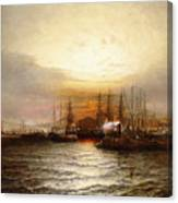 Sunrise From Chapman Dock And Old Brooklyn Navy Yard, East River, New York Canvas Print