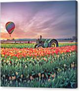 Sunrise, Hot Air Balloon And Moon Over The Tulip Field Canvas Print