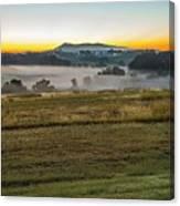 Sunrise Landscape Over Morganton Town In  North Carolina  Canvas Print