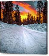 Sunrise On A Rural Road Canvas Print