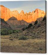 Towers Of The Virgin At Sunrise Canvas Print