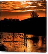 Sunrise Over A Pond Canvas Print