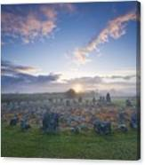 Sunrise Over Beaghmore Stone Circles Canvas Print