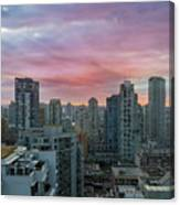 Sunrise Over Downtown Vancouver Bc Canvas Print