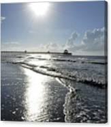Sunrise Over Folly Beach Pier Canvas Print