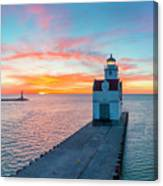Sunrise Over Lake Michigan Scenic Harbor, Lighthouse With Seagulls. Canvas Print