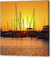 Sunrise Over Long Beach Harbor - Mississippi - Boats Canvas Print