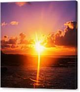 Sunrise Over Ocean, Sandy Beach Park Canvas Print