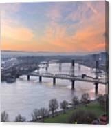 Sunrise Over Willamette River By Portland Canvas Print