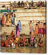 Sunrise Praying In River Ganges Canvas Print
