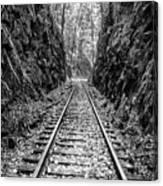 Sunrise Rails Black And White Vertical Panorama Canvas Print