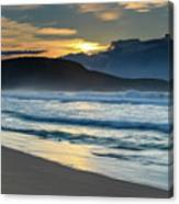 Sunrise Seascape With Headland And Clouds Canvas Print