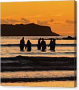 Sunrise Seascape With People Silhouettes Canvas Print
