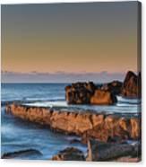 Sunrise, The Sea And Tessellated Rock Platform Canvas Print